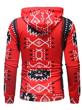 Hooded Geometric Print Loose Men's Pullover Hoodie