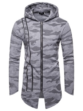 Hooded Camo Zipper Asymmetric Men's Cardigan Hoodie