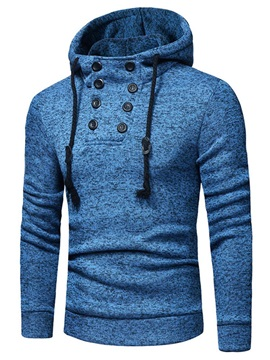 Plain Hooded Button Men's Pullover Hoodie