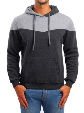 Hooded Color Block Patchwork Men's Casual Hoodie