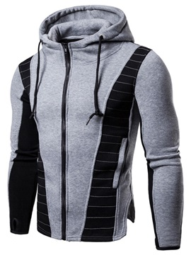 Patchwork Zipper Hooded Men's Casual Hoodie