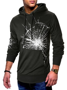 Black Print Hooded Lace-Up Men's Pullover Hoodie