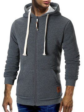 Plain Hooded Lace-Up Zipper Men's Cardigan Hoodie
