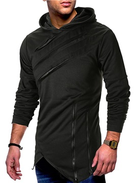 Plain Asymmetric Hooded Zipper Men's Hoodie
