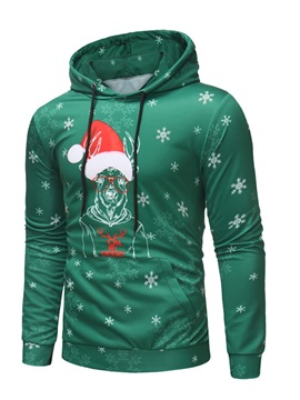 Christmas Print Hooded Pullover Men's Casual Hoodie