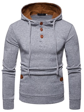 Plain Button Hooded Pullover Men's Casual Hoodie