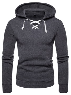 Plain Lace-Up Hooded Men's Casual Hoodie