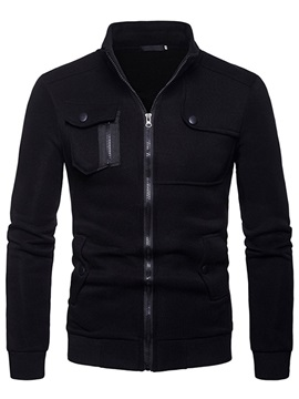 Plain Stand Collar Zipper Men's Cardigan Hoodie