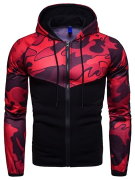 Hooded Camo Patchwork Zipper Men's Cardigan Hoodie