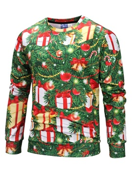 Christmas Print Round Neck Loose Men's Pullover Hoodie