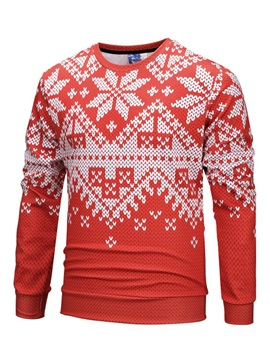 Christmas Print Round Neck Men's Pullover Hoodie