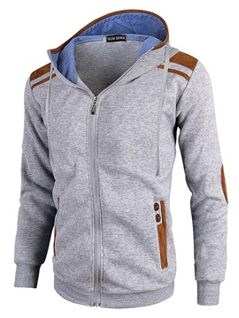 Color Block Zipper Cardigan Straight Spring Men's Hoodies