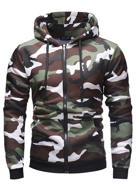 Cardigan Camouflage Fleece Slim Hooded Men's Hoodies