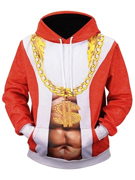 Christmas Color Block Print Hooded Men's Hoodie