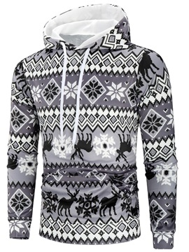 Christmas Print Hooded Casual Men's Hoodie