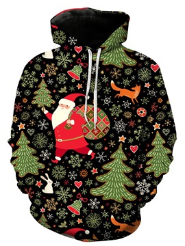Christmas Print Hooded Men's Loose Hoodie