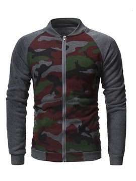 Camouflage Color Block Men's Zipper Hoodie