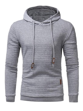 Hooded Lace-Up Plain Men's Hoodie