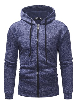 Plain Hooded Zipper Pocket Men's Cardigan Hoodie