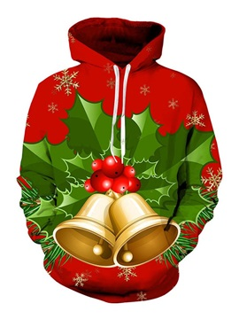 Christmas Cartoon Print Pullover Hooded Men's Hoodie