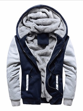 Color Block Fleece Zipper Winter Men's Hoodie