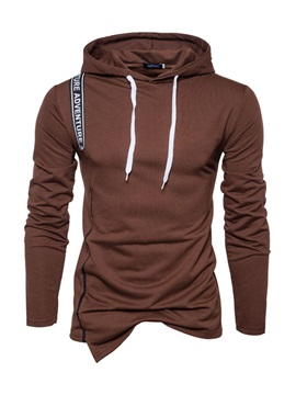 Hooded Plain Lace-Up Men's Pullover Hoodie