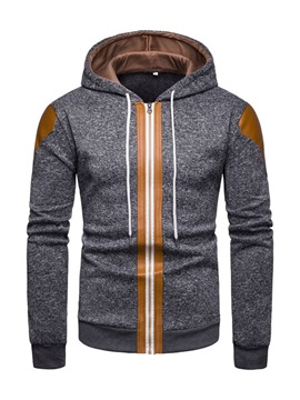Hooded Color Block Patchwork Cardigan Zipper Men's Hoodie