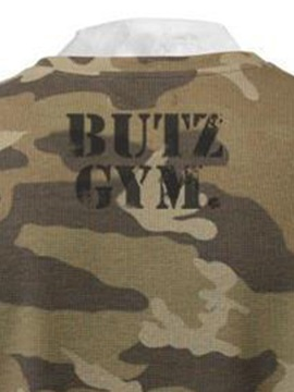 Letter Print Camo Pullover Round Neck Men's Hoodie