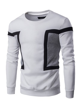Pullover Color Block  Round Neck Men's Hoodie