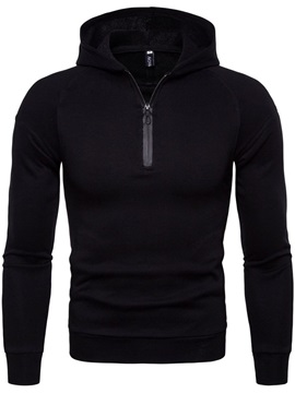 Hooded Zipper Pullover Plain Men's Hoodie