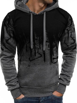Color Block Lace-Up Hooded Pullover Men's Hoodie