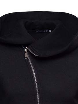 Hooded Plain Cardigan Zipper Casual Men's Hoodie