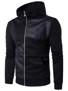 Hooded Color Block Patchwork Zipper Men's Hoodie