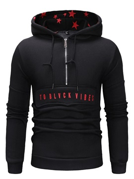 Hooded Color Block Zipper Casual Men's Pullover Hoodie
