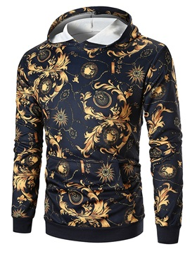 Hooded Floral Color Block Pullover Men's Hoodie
