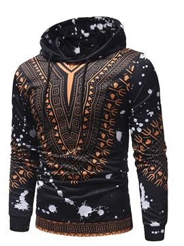 Color Block Geometric Print Hooded Men's Hoodie