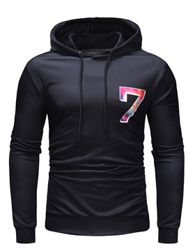 Hooded Pullover Number Print Casual Men's Hoodie