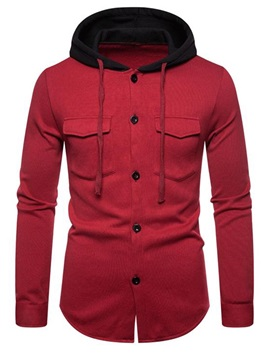 Color Block Hooded Cardigan Button Men's Hoodie