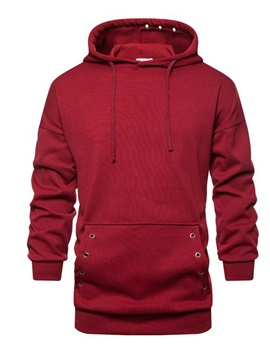 Hooded Plain Pocket Pullover Men's Hoodie