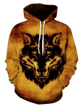 3D Animal Print Pullover Hooded Men's Hoodie