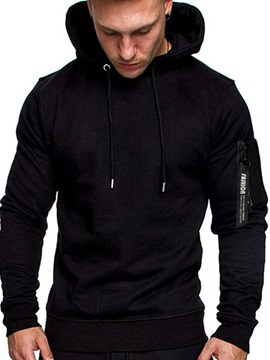 Plain Hooded Patchwork Camouflage Men's Hoodie