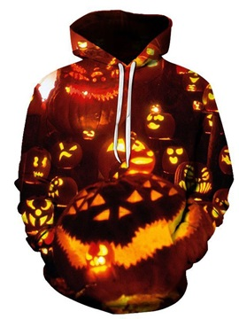 Print Fleece Color Block Pullover Loose Men's Halloween Costume Hoodies