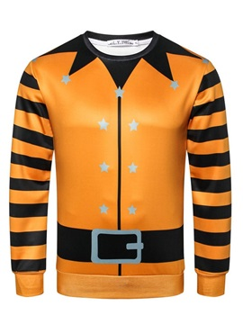 Print Pullover Stripe Casual Men's Halloween Costume Hoodies