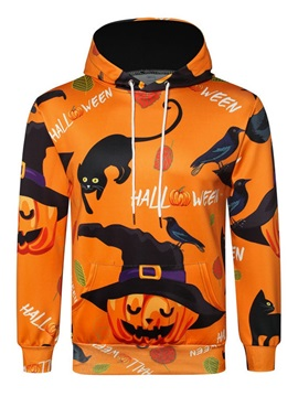 Pocket Color Block Pullover Loose Men's Halloween Costume Hoodies