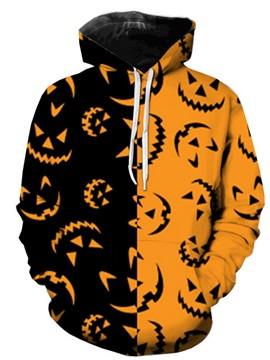 Color Block Pullover Pocket Casual Men's Halloween Costume Hoodies