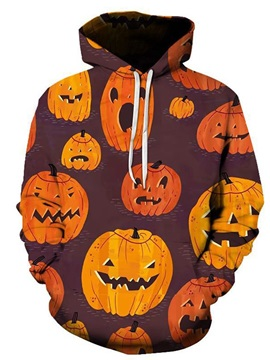Print Pullover Color Block Loose Men's Halloween Costume Hoodies
