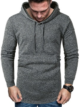 Thin Plain Pocket Pullover Casual Men's Hoodies