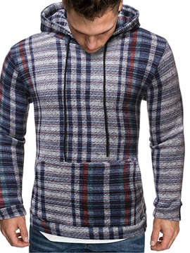 Fleece Pullover Pocket Plaid Slim Men's Hoodies
