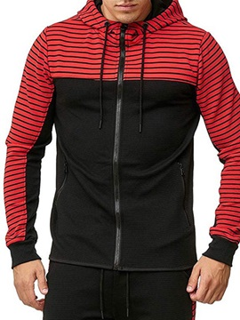Cardigan Stripe Fleece Zipper Men's Hoodies