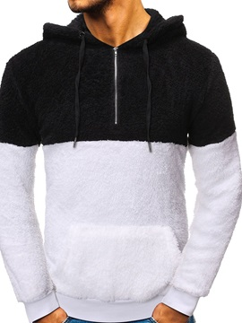 Pullover Fleece Pocket Color Block Casual Men's Hoodies